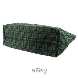 100% Authentic Fendi Zucchino FF Monogram Green Nylon Roll Tote Bag