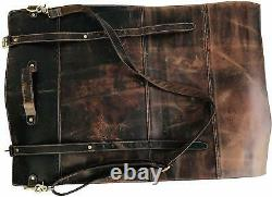10 Pockets Brown Handmade Leather Chefs Knife Roll Bag, Knife Carry Case Wallet