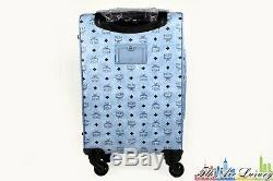 $1,480 New MCM Voyager Blue Visetos Travel Trolly Rolling Carryon Suitcase Bag