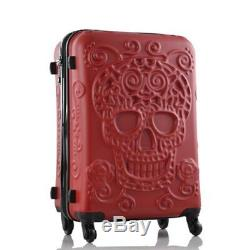 202428 Rolling Luggage Spinner Travel Suitcase 3D skull Women Trolley Bag