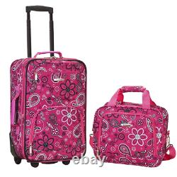 2-Piece Carry-On Luggage Set Upright Tote Bag Rolling Travel Pink Floral