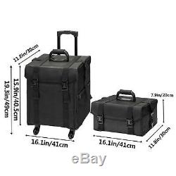 2 in 1 Large Rolling Makeup Case Cosmetic Box Soft Oxford Train Bag with8 Drawers