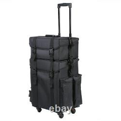 2 in 1 Pro Rolling Makeup Case Train Box Cosmetic Organizer Luggage Trolley Bag