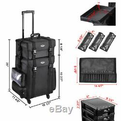 2in1 Rolling Makeup Case Trolley Train Box Organizer Cosmetic Travel Salon Bag