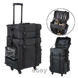 2in1 Soft Sided Rolling Makeup Trolley Train Case Bag withDrawer Cosmetic Box