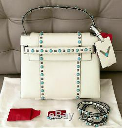 $4045 Valentino My Rockstud Rolling Medium Leather Satchel Tote Shoulder Bag