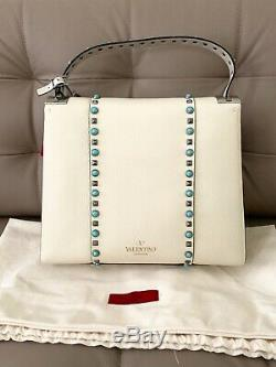 $4045 Valentino My Rockstud Rolling Medium Leather Satchel Tote Shoulder Bag