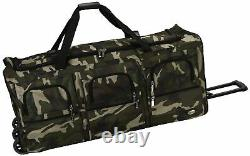 40 Rolling Duffle Bag Soft Sided Travel Luggage with Wheels Camouflage X-Large