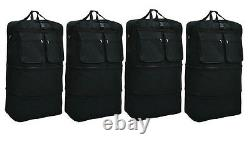4-Pack 40 Black Expandable Rolling Wheeled Duffle Bag Spinner Suitcase Luggage