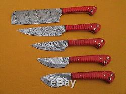 5 piece Kitchen knife set, Chef, cleaver, Red color Jigged scale, Suede Roll bag