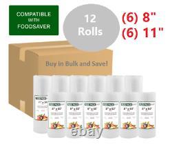 (6)8 & (6)11 Rolls / Foodsaver style Vacuum Sealer Bags, BUY IN BULK & SAVE $$