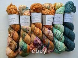6 Primrose Sophia hand dyed yarn, 2018 still in original bag. Jelly Roll pattern