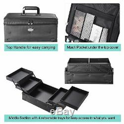 AW 2in1 Cosmetic Organized Trolley Travel Rolling 3in1 Soft Sided Makeup Case