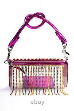 Area Womens Rainbow Crystal Fringe Roll Bag Clear Fuchsia One Size