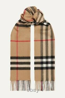 BRAND NEW BURBERRY Cashmere Scarf Check With Roll Tube Box Gift Bag 100% Authentic