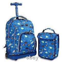 Backpack Wheels Boy Girl Rolling School Lunch Bag Kids Back Pack Roller Blue