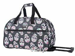 Betsey Johnson, Carry On Luggage Sugar Skull Pattern 22 Inch Rolling Duffel Bag