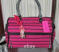 Betsey Johnson Roll Out Diaper Bag Striped Tote Bag Weekender NWT
