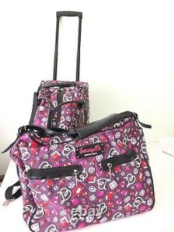 Betseyville Betsey Johnson Duffle Rolling Bag & Large Duffle Bag Bling Purple NW