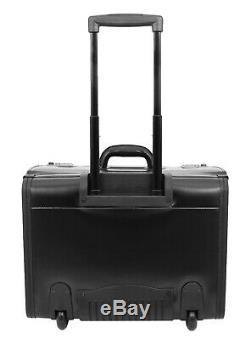 Black Leather Pilot Case Rolling Business Travel Laptop Docs Cabin Flight Bag