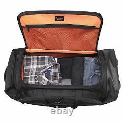 Black Pathfinder Gear 32 Large Drop Bottom Rolling Wheeled Duffel Bag Duffle