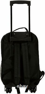 Black Rolling Backpack Rockland Luggage 17-Inch Travel Bag Wheeled Heavy Duty