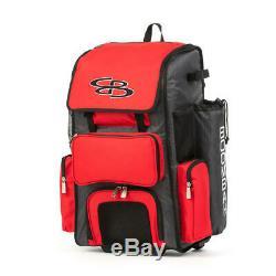 Boombah Rolling Wheeled Handle Superpack Baseball/Softball Bat Bag 2.0, Gray/Red