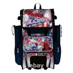 Boombah Superpack 2.0 Rolling Wheeled Baseball/Softball Bat Bag Pack USA/Patriot