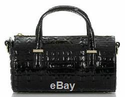 Brahmin Claire Black Speedy Roll Barrel Bag Croc La Scala Leather Evening