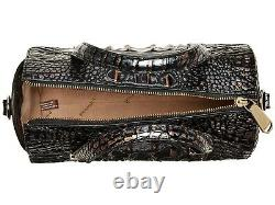 Brahmin Claire Dusk Black Silver Gold Speedy Roll Barrel Bag Croc Leather