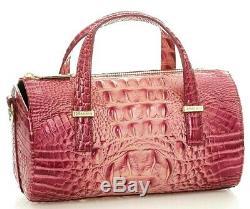 Brahmin Claire Lotus Pink Fuscia Speedy Roll Barrel Bag Croc Leather Evening