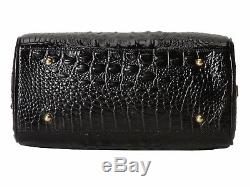 Brahmin Ginny Satchel Black Croc Emb Leather Speedy Barrel Bag Claire Roll