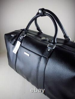 Brooks Brothers Duffel Travel Bag Wheeled Rolling Black Leather NWT $398 New