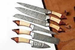 CUSTOM MADE DAMASCUS BLADE 7Pcs. CHEF/KITCHEN KNIVES SET M-H-061-Roll Bag
