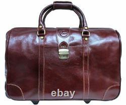 Cenzo Italian Leather Trolley Bag Luggage Weekender Rolling Travel Bag Suitcase