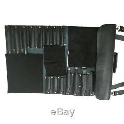 Chef Knife Bag Chef Knife Roll Lightweight Genuine Leather Black 16 Pocket KB003