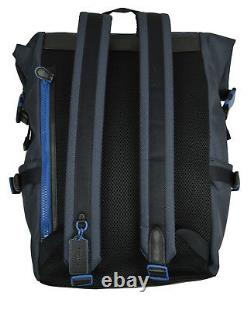 Coach F36090 Midnight Navy Blue Terrain Roll Top Canvas Backpack Bookbag 18791-1