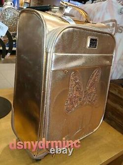 Disney Parks Loungefly Rose Gold Sequin Minnie Ear Rolling Luggage Suitcase Bag
