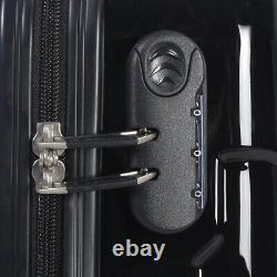 GLOBALWAY 3 Pcs Luggage Travel Set Bag ABS Trolley Suitcase Black