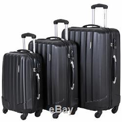 GLOBALWAY 3 Pcs Luggage Travel Set Bag ABS Trolley Suitcase withTSA Lock Black