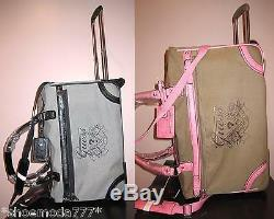 GUESS Avignon 22 Rolling DuffleTravel Luggage Suitcase Bag Pink Black New