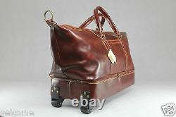 Genuine Italian Leather Duffle Weekend Travel Overnight Gym Bag Trolley Luggage