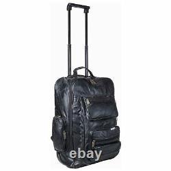 Genuine Leather Large Black Baggage Black Travel Bag Flight Luggage Rolling Pack