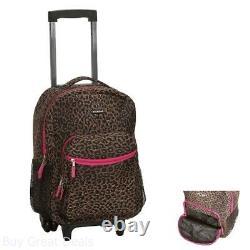 Girls School Bag Rolling Backpack Wheels Travel Children Bookbag Pink Leopard
