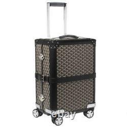 Goyard Black Goyardine Canvas Bourget PM Trolley Luggage Bag Rolling