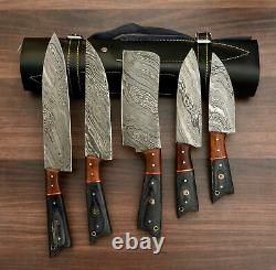 HAND FORGED DAMASCUS STEEL CHEF KNIFE KITCHEN SET WITH wood HANDLE and roll bag