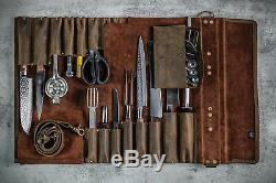 Hand Crafted Chef Artist knife roll Leather tools knife sheath leather sling bag