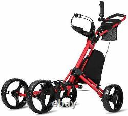 JANUS Golf Push Cart Golf Bag Rolling 4 Wheel Red
