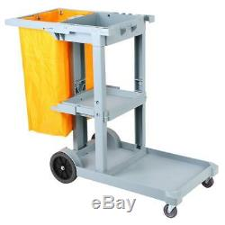 Janitorial Cleaning Cart Rolling Janitor UItility Cart with 3 Shelves & Vinyl Bag