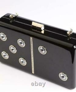 Kate Spade Roll Domino Collection Clutch Crossbody Womens Black Bag + Box